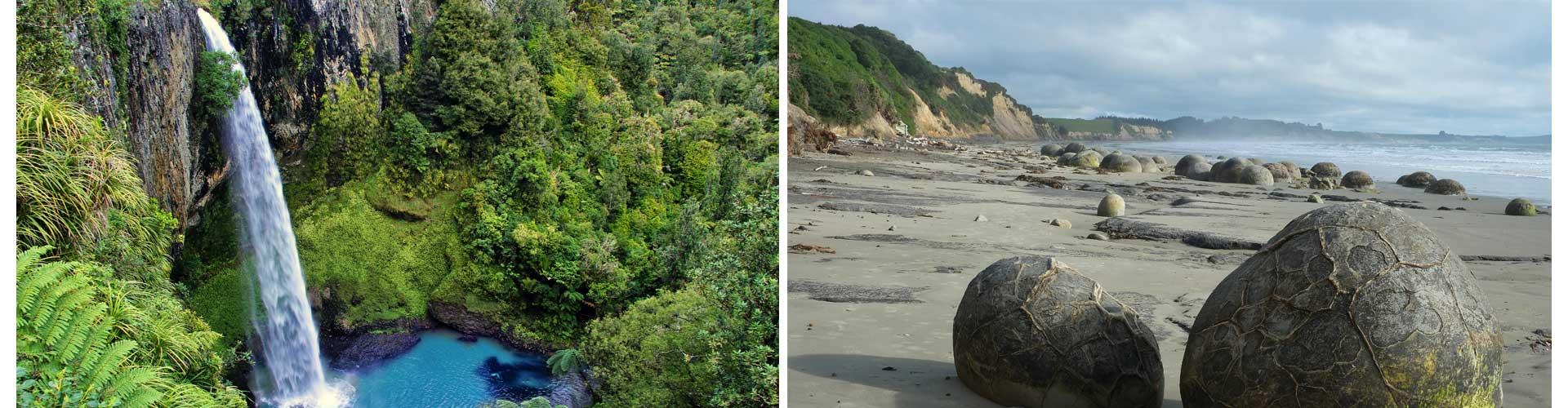 Neuseeland Reisetagebuch Ozeanien Wasserfall Boulders Bridal Veil