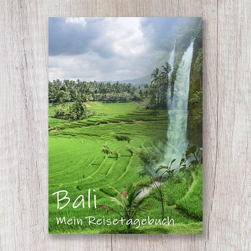 Reisetagebuch zum Selberschreiben Bali Asien Reisterrasse Wasserfall