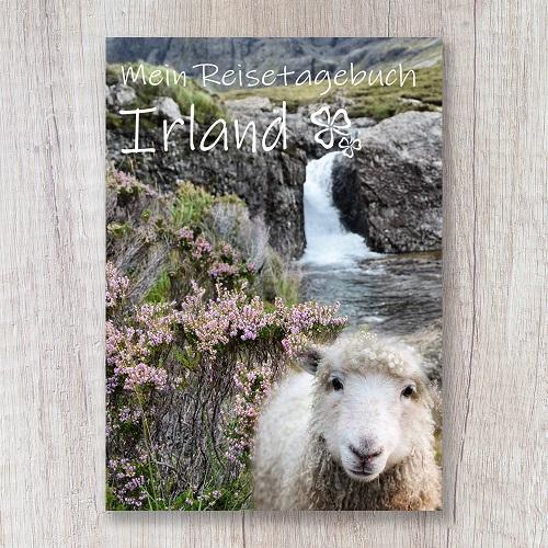 Reisetagebuch zum Selberschreiben Irland Europa Schaf Wasserfall Landschaft
