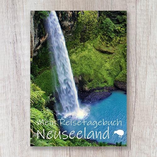 Reisetagebuch zum Selberschreiben Neuseeland Wasserfall Ozeanien