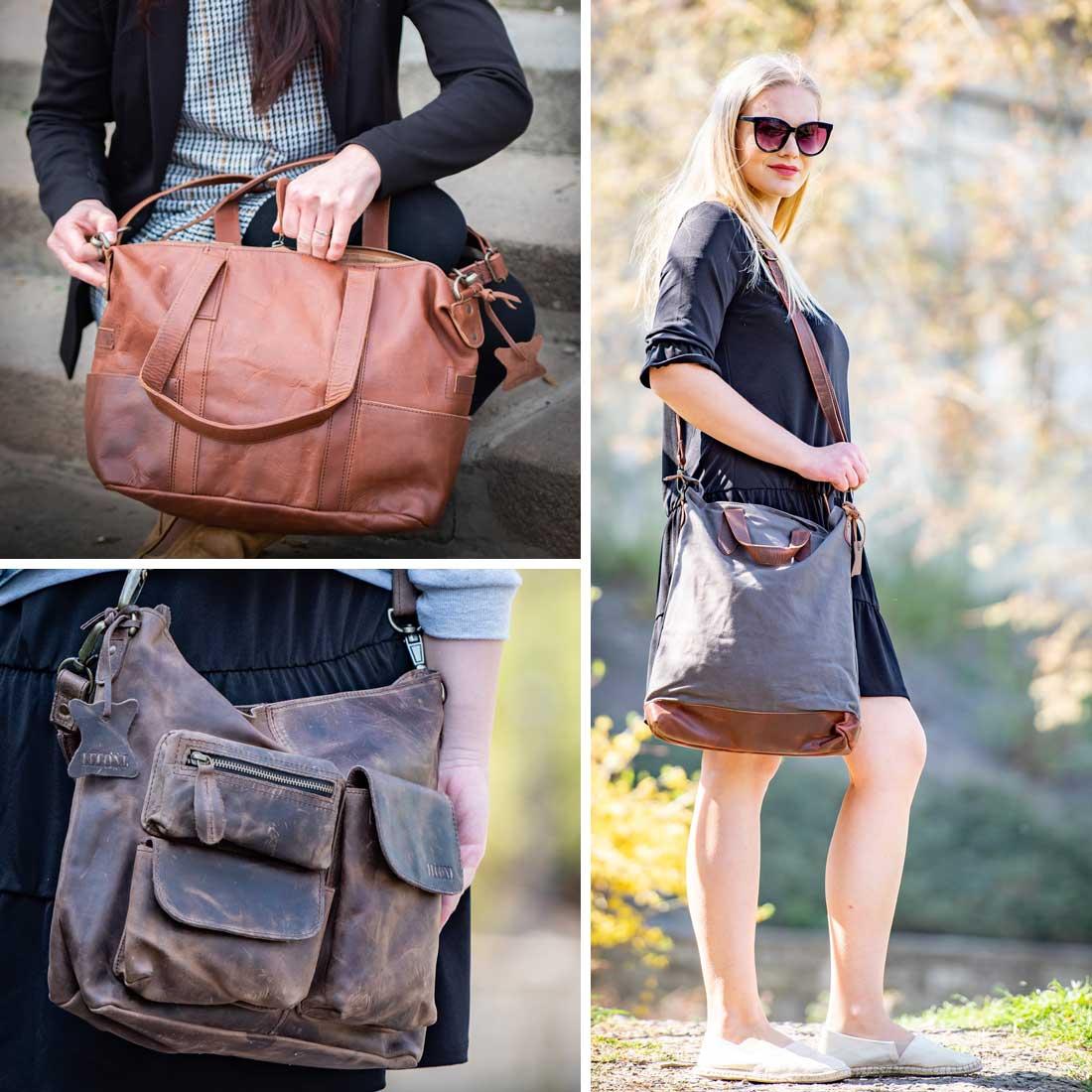 Leconi Damentaschen henkeltaschen echtleder leder schultertasche umhängetasche