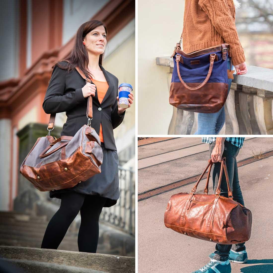 Leconi Reisetasche Weekender echtleder leder canvas trolley sporttasche
